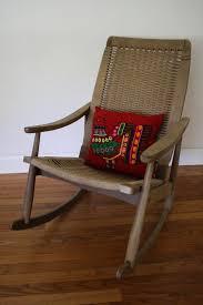 danish look woven rope rocking chair teak modernist rocker yugoslavia mid century modern hans wegner style vintage