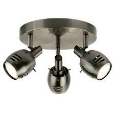 trojan 3 light ceiling spotlight split bar in antique silver finish