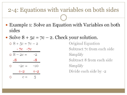 2 4 equations with variables on both sides example 1 solve an equation