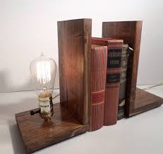 ... Wooden bookends with Edison bulb