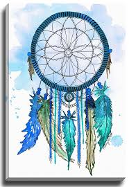 Paintings Of Dream Catchers Teal Blue Dream Catcher by Kelsey McNatt Painting Print on Gallery 1