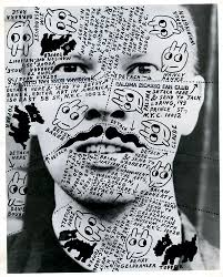 Ray Johnson image of face with writing from Siglio