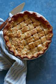Overhead View Of Apple Pie With Leaf Decorations On The Crust Stock