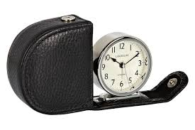lascelles travel alarm clock in a leather case