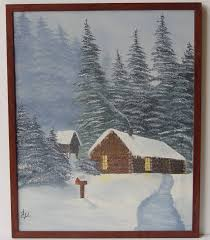 Vintage PAINTING of Cabin in the Woods Snow - Original & Signed Art - Log  Cabin