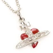 vivienne westwood diamante heart pendant red
