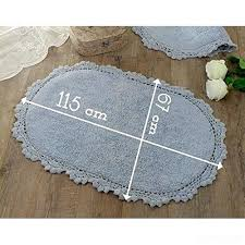 4 Farmhouse Bathroom Rugs Oval Bath Mat Rug Vintage Shabby Chic  Crochet Light Blue Cotton