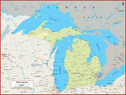 michigan physical state map