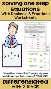 solving one step equations with fractions and decimals diffeiated