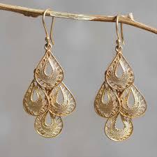 gold filigree chandelier earrings