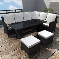 Gartens Terrasse Sofagarnitur 14 Tlg 8 Personen Schwarz Esstisch