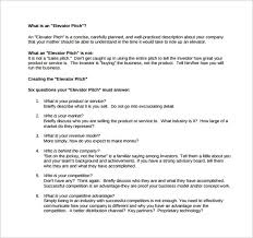 Sample Elevator Pitch Template 11 Free Documents In Pdf Word