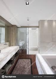 Modernes Badezimmer Mit Marmor Und Parkett Niemand Stockfoto
