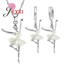 Cute <b>Ballet</b> Dancer 925 Sterling Silver Bridal Jewelry Set <b>Cubic</b> ...