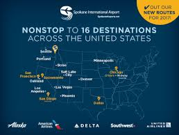 schweitzer remends alaska airlines offering non stop flights into spokane from portland and seattle and connections from over 90 destinations coast to