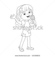 Small Picture Coloring Page Outline Cartoon Girl Gift Stock Vector 424588990