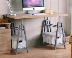 small desk height adjule rustic sawhorse table home office cute