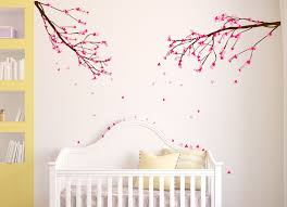 large wall nursery tree branch baby decal cherry blossom flowers pictures decals closeup animal kids decor