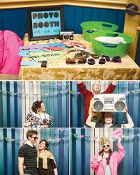 80s party ideas stellar photo booth with neon props