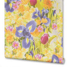 Обои бумажные Голландия 0.53х10 м цветы цвет <b>бежево</b> ...