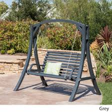 Outdoor Swing Patio Furniture Backyard Loveseat Teak Wood Lawn and