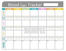 Diabetes Chart Tracker Blood Sugar Tracker Printable For Health Medical Fitness