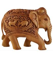 kraft mart brown wood carving elephant showpieces