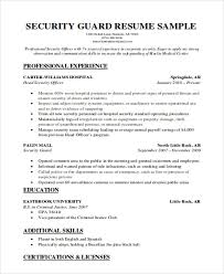 Sample Of Security Guard Resume Resume Examples