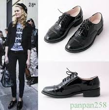 details about oxfords womens brogue wingtip patent leather retro lace up casual low heel shoes