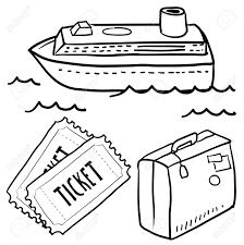 14419945 Doodle style cruise or vacation sketch in vector format Set includes luggage cruise ship waves and t Stock Photo drawing ticket magic movie ticket stock vector copy on construction employment application template