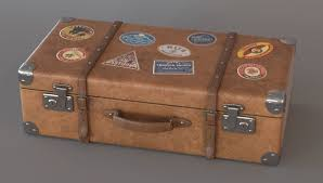 old suitcase with stickers 3d model max obj ma mb 1 ...