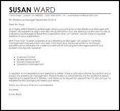Warehouse Supervisor Cover Letter Example Warehouse Manager Cover Letter Sample Cover Letter