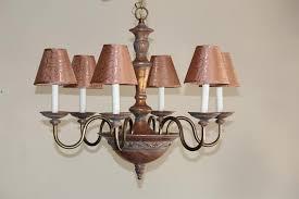 crystal basket flushmount copper chandelier