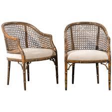beautiful vintage faux bamboocane barrel back chairs
