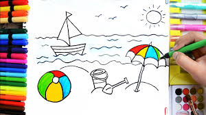 Drawingcolor Draw Color Paint Summer Fun Ball Boat Bucket Umbrella Coloring