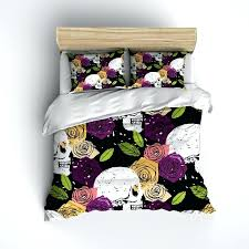 decoration jewel tone comforter splatter paint rose and skull duvet bedding sets toned