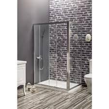 nexus rectangle shower door 47 1 4 80 3 4 31 1 2 2 fixed 1 sliding panel 6 mm transpa glass