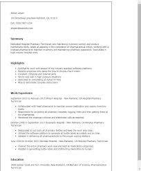 Resume Templates: Hospital Pharmacy Technician