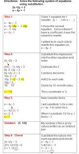 using the substitution method to solve systems of equations  math education