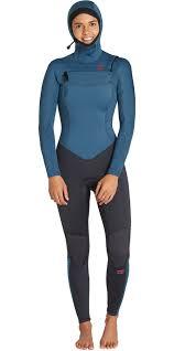 2019 Billabong Womens Furnace Synergy 5 4mm Hooded Chest Zip Wetsuit Black Marine Q45g04