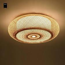 lantern ceiling lighting hand woven bamboo wicker rattan round lantern shade ceiling light fixture rustic lantern