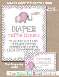 raffle sign instant download elephant diaper raffle ticket sign diaper raffle