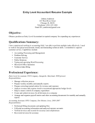 Sample Entry Level Accounting Resumes Entry Level Accounting