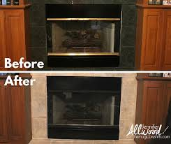 before after of painting fireplace brass trim
