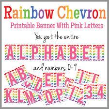 Printable Chevron Letters Rainbow Chevron Printable Alphabet Banner Pink Letters Instant Download