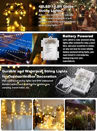 B Right 14 8ft Globe String Light Battery Powered 8 Modes Outdoor Waterproof Decorative String Lights For Bedroom Patio Garden Parties Wedding 40
