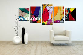 Large Paintings For Living Room 5 Piece Canvas Colorful Home Decor Abstract Multi Panel Art