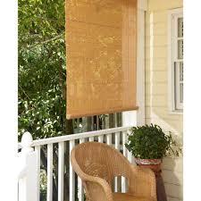 l tan woodgrain exterior roll up patio sun shade