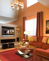 interior: Pretty Living Room With Beige Accents Wall Feat Brown Sectional  Sofa And Glass Top
