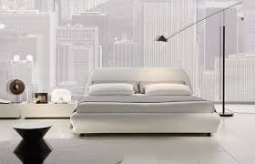 Villa Italian Leather Platform Bed Queen Size White